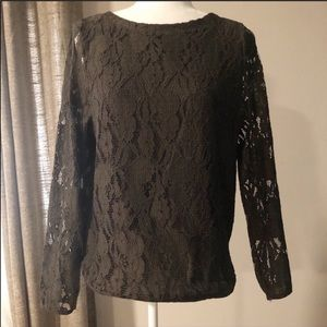 H&M olive green lace front top